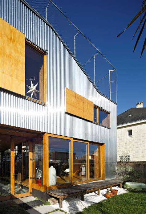 cool french house  corrugated aluminium facade