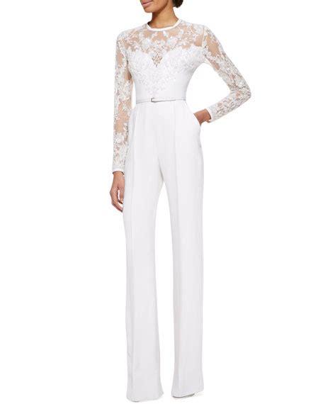 sleeve white jumpsuit elie saab sleeve lace embellished jumpsuit white