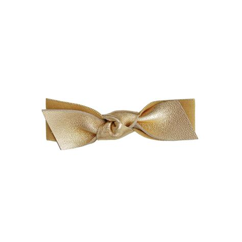 leather bow emi gold leather bow