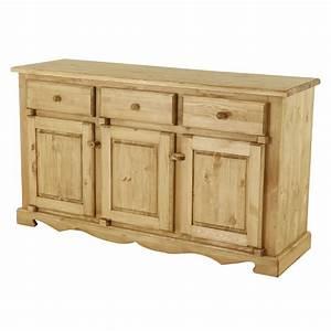 meuble bas rustique en pin 3 portes 3 tiroirs grenier alpin With meuble bas 3 portes
