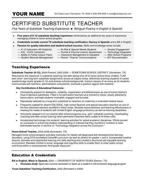 Substitute Teaching Resume by Substitute Resume Description Writing Resume