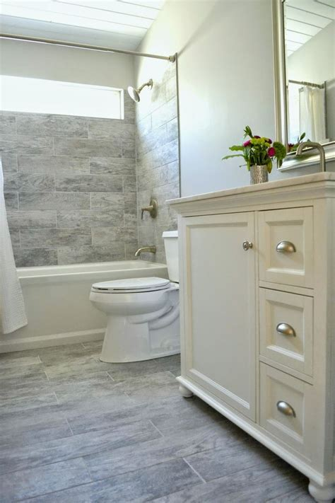 Gray Plank Tile Bathroom Like The Tile That Looks Like Wood Inspire It Bathroom