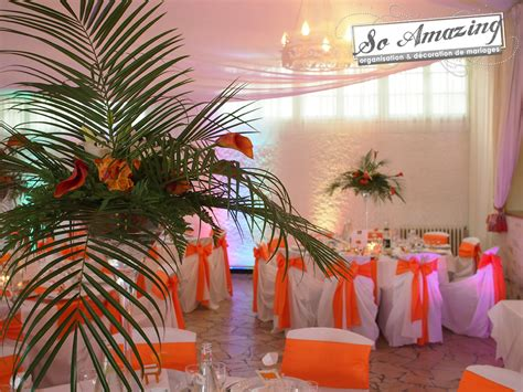 ch 226 teau de p 233 rigny poitiers d 233 coration de mariage orange et exotique feuille de palmier