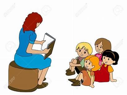 Listening Teacher Clipart Children Cliparts Preschoolers Illustration