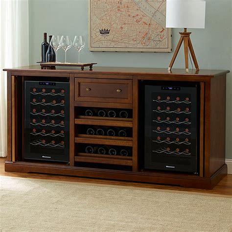 Wine Credenza Cooler - siena wine credenza walnut with two wine refrigerators