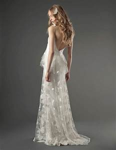 Romantic low back wedding dress with unique lace onewedcom for Unique lace wedding dresses