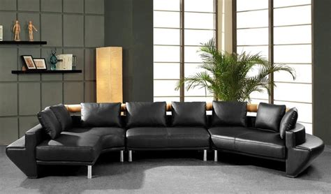 Black Contemporary Sofa by Contemporary Curved Sectional Sofa In Black Leather