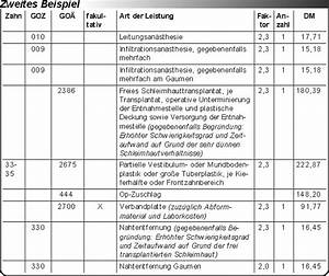 Goä Abrechnung Beispiel : fallbeispiel die abrechnungsm glichkeiten beim freien schleimhauttransplantat zur ~ Themetempest.com Abrechnung