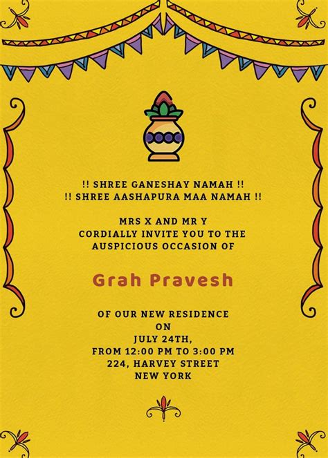 grah pravesh colors invitation invites house warming