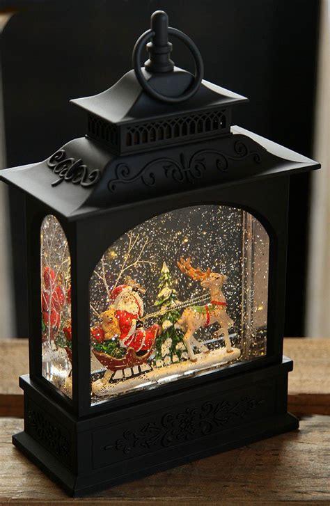 santa  sleigh snow globe lantern battery