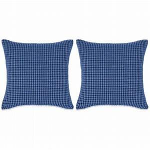 Coussin Velours Bleu : vidaxl jeu de coussin 2 pcs velours 60 x 60 cm bleu coussins pour fauteuils et canap s creavea ~ Teatrodelosmanantiales.com Idées de Décoration