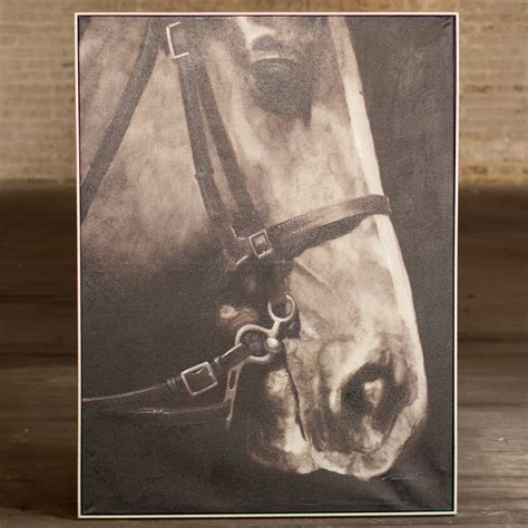 Black and White Horse Profile Framed Canvas