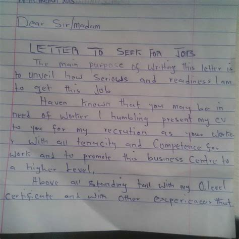 a graduate seeker brought this letter to my office vacancies nigeria