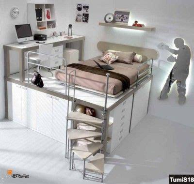 camere da letto con scrivania soppalco con armadio sotto e letto da una piazza e mezzo