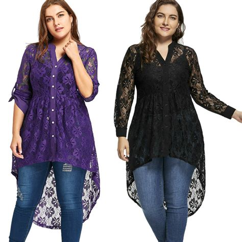 Womens Long Sleeve Button Up Plus Size Blouse High Low