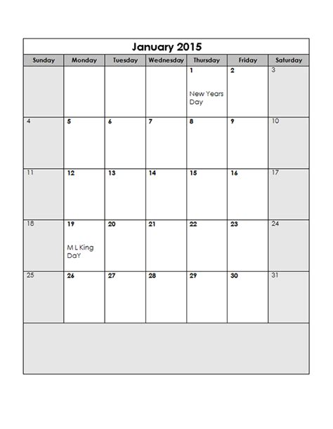 13 Month Calendar Template by 2015 Monthly Calendar Template 13 Free Printable Templates