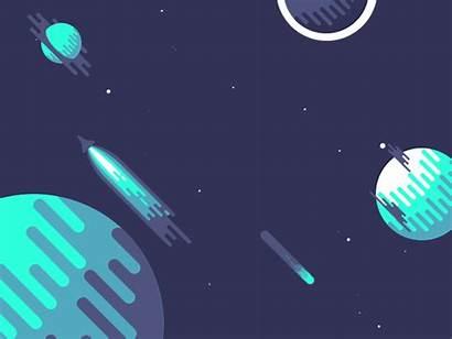 Space Night Gifs Animated Animation Flat Illustration