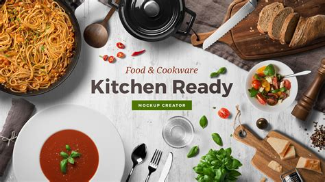 If you are hungry for free food and beverages mockups, you've come to the right place: Kitchen Ready Mockup Creator   Mockup Cloud