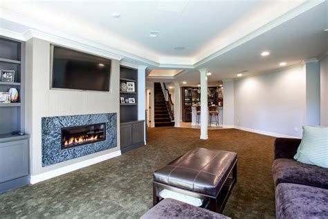 Basement tv built in basement traditional with recessed