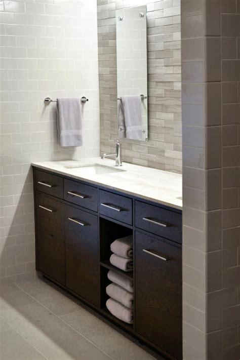 modern white bathroom  dark brown vanity hgtv