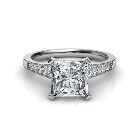 graduated milgrain princess cut diamond engagement ring