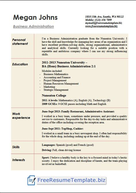 Business Resume Template Free by Business Administration Resume Templates Free Resume