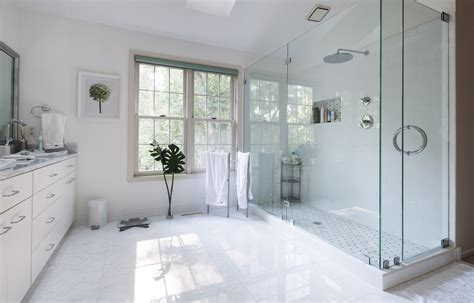 Big White Tile Floor Combined With White Wooden Vanity