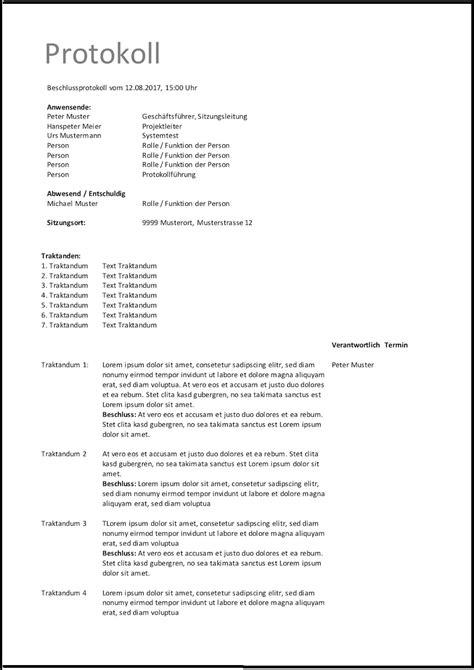 protokoll vorlage word excel kostenlos muster vorlagech