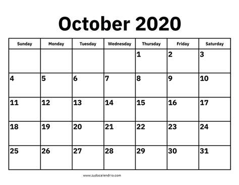 calendar october  zudocalendrio