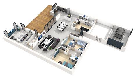 plan maison 4 chambres plain pied plan de maison plain pied 3 chambres 3d