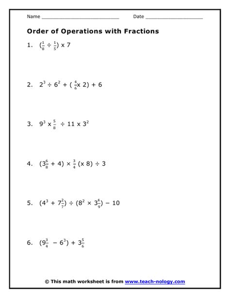 order of operations fractions worksheet worksheets for all