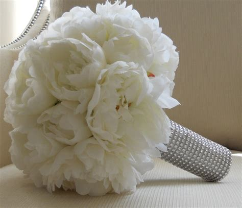 white peonies bridal bouquet  silver stem wrap