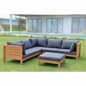 salon de jardin d39angle 5 places en eucalyptus fsc achat With salon d angle de jardin