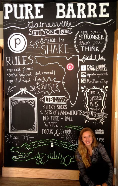 chalkboard wall  designed   fitness studio called