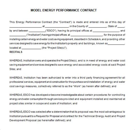 performance contract templates word  google