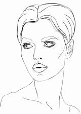 Coloring Makeup Wajah Sketsa Gambar Face Worksheets Perempuan Poto sketch template