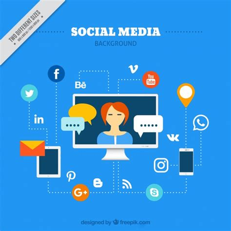 Social Media Background Social Media Background With Social Networks And Devices