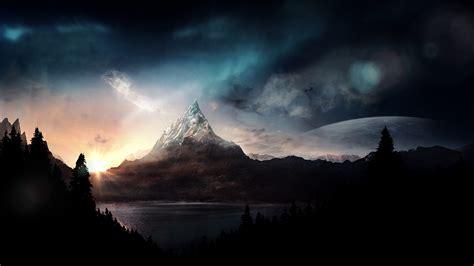 mountain forest digital art wallpapers hd desktop
