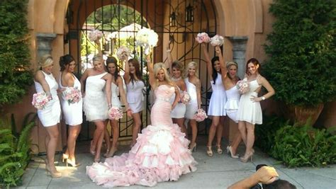 Bride In Blush Pink And Bridesmaids In White #wedding