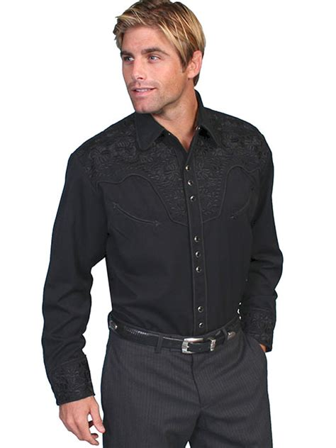 mens solid color western shirts long sleeve shirts