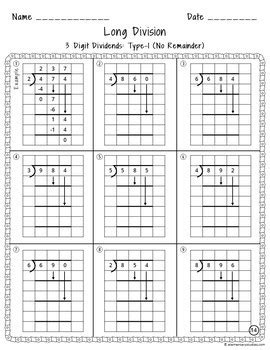 long division worksheets with grid assistance by elementarystudies
