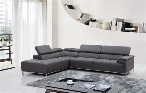 Furniture Gorgeous Dark Grey Leather Sectional For Cozy