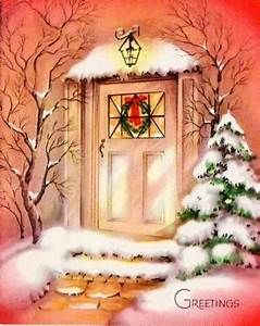 Vintage Home for Christmas Card ~ Front Door Scene with ...