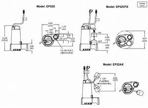 Barnes Ep52 Series Effluent Pumps Dimensions