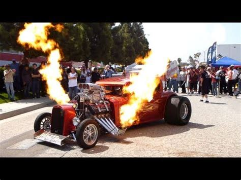 monster hot rod wild thang shooting flames loud engine