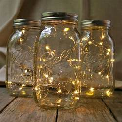 quart mason jars with warm white fairy lights set of 3