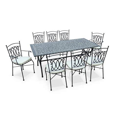 salon de jardin table 200cm 8 places granit mosaique zellige style ceramique fer forg 233 marocaine