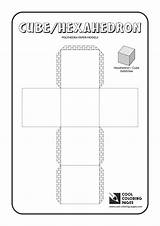 Coloring Cube Pages Paper Cool Models Solids Polyhedra Educational Activities sketch template