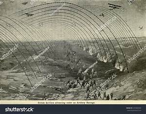 Wwi  Diagram Of British Soldiers Advancing Under A Creeping Artillery Barrage  Western Front  Ca