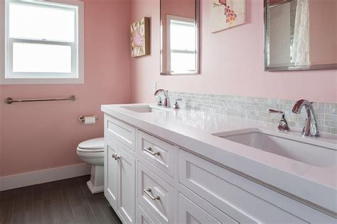 Kid Bathroom With Pink Wallpaper  Transitional Bathroom